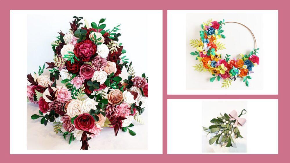 Bunte, unvergängliche Schönheit mit Papierblumen